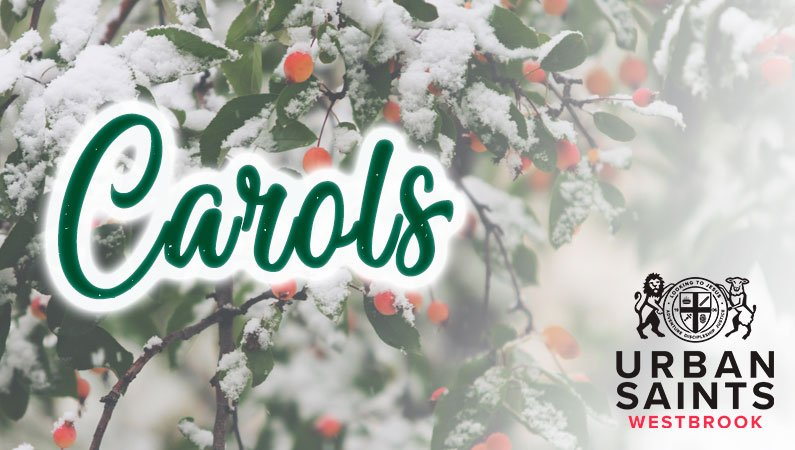 'Carols at Westbrook' written in swirly font over a picture of a snow-covered bush