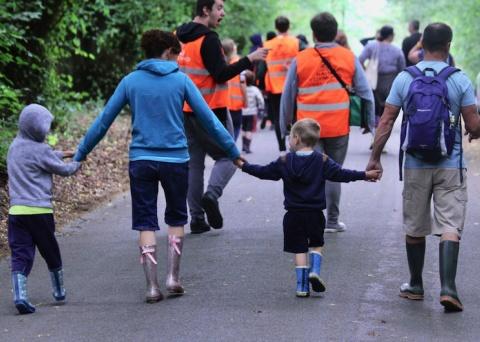 group walking together