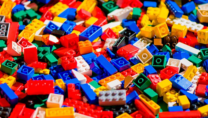 Colourful toy building bricks