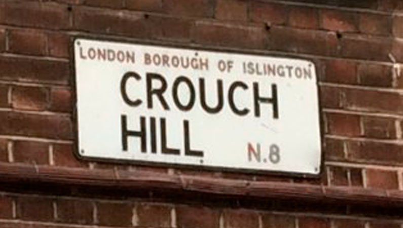 The street sign for Crouch Hill in N8 London Borough of Islington - the birthplace of Crusaders and Urban Saints in the 1900s