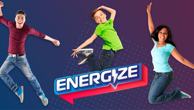 The Energize logo and people jumping around it