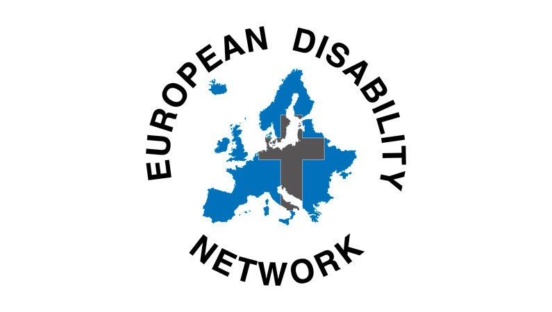 The logo for the European Disability Network featuring a map of Europe and a superimposed cross