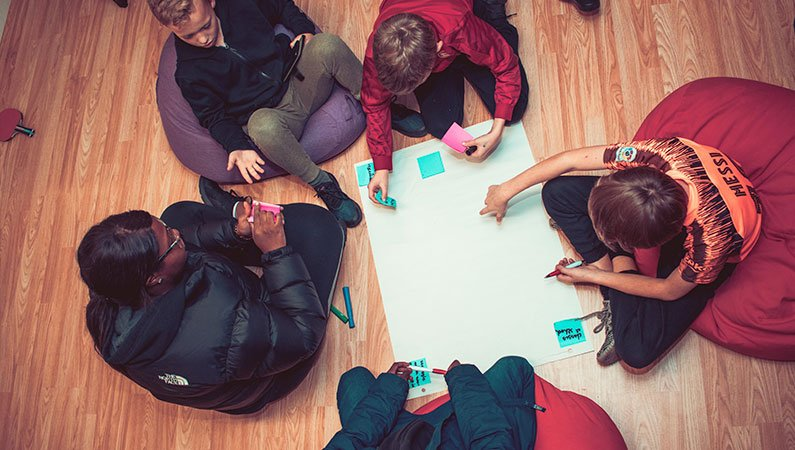 Young people sat in a small group around paper on the floor