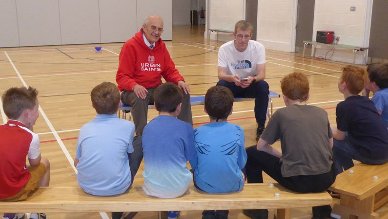 A group of lads listen to Mike and Gordon at the Lenzie Boys Group - in its 50th year of discipling young people every week
