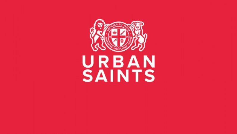 Urban Saints logo on red background