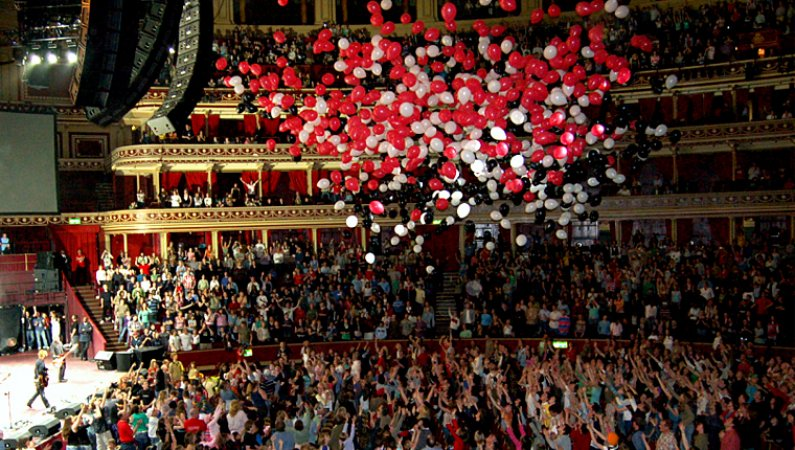 Coloured balloons fell from the top of the Royal Albert Hall during the closing number by Delirious? at No Turning Back to celebrate the centenary of Crusaders and Urban Saints
